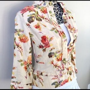 Anthropologie Elevenses Floral Jacket